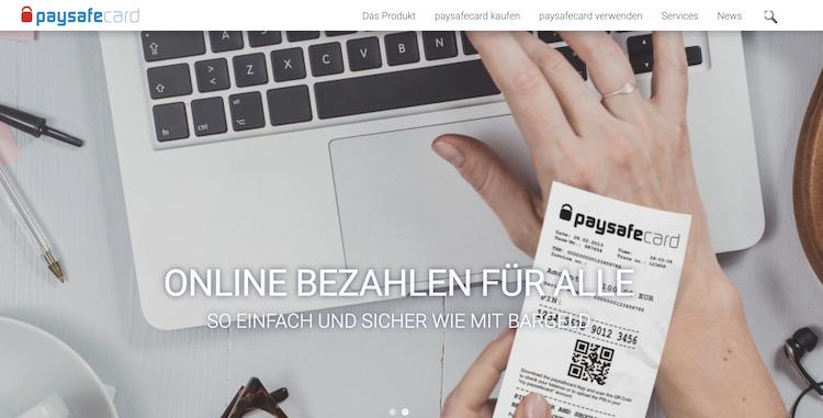 Paysafecard Webseite