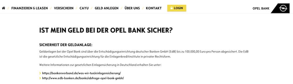 Opel Bank Einlagensicherung