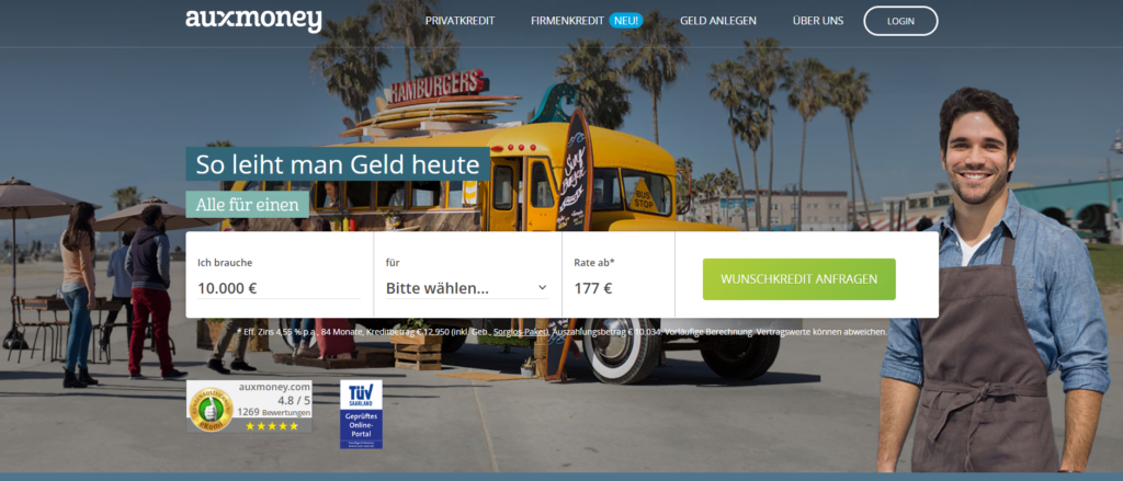 Die Website des Testsiegers auxmoney